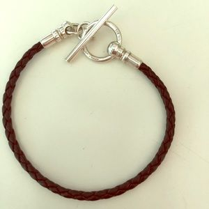 AUTHENTIC Tiffany & Co. Leather/Sterling Bracelet.